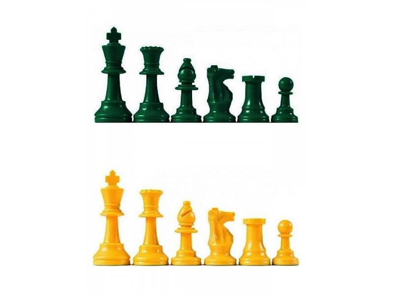 Χρωματιστά πλαστικά πιόνια πράσινα - κίτρινα Staunton , με ύψος βασιλιά 9.5 εκ.  (με τσόχα και διπλές βασίλισσες)