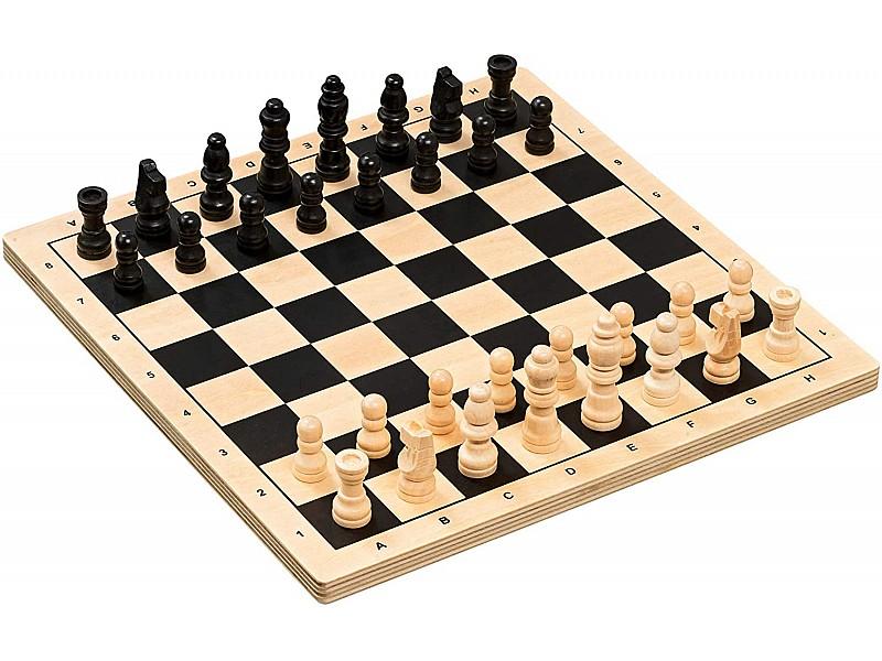 Ξύλινη σκακιέρα 26 Χ 26 εκ.  με ξύλινα πιόνια με ύψος βασιλιά 5 εκ.