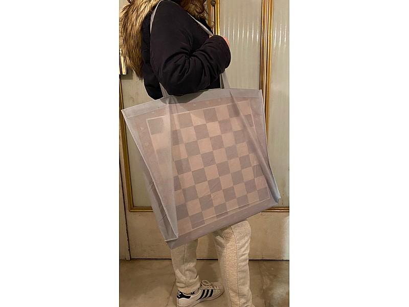 Σκακιέρα ξύλινη καρυδιά πλακέτα 50 Χ 50 εκ.  (χωρίς συντεταγμένες) + ΔΩΡΟ υφασμάτινη τσάντα μεταφοράς