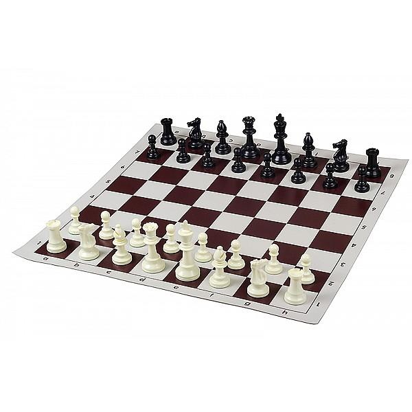 Σκακιέρα βινυλίου καφέ  50 Χ 50 μαζί με πλαστικά πιόνια (χωρίς βάρος) με ύψος βασιλιά 9.5 εκ.