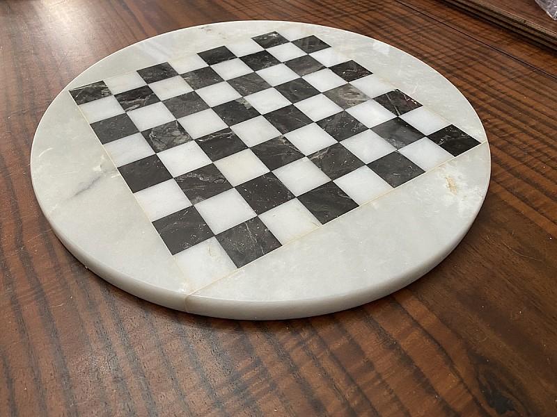 Σκακιέρα από όνυχα στρογγυλή (Ασπρόμαυρη) με διάμετρο 35 εκ