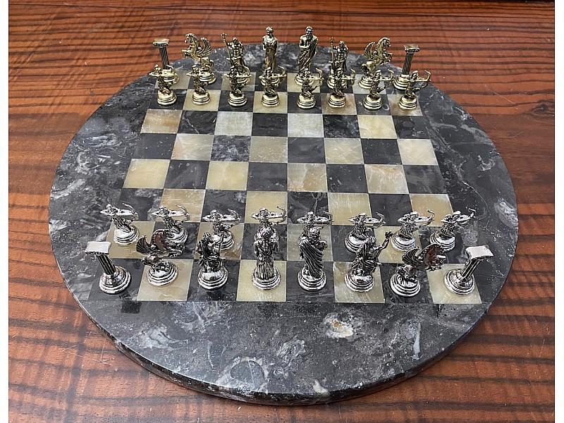 Σκακιέρα από όνυχα στρογγυλή (μαυρόασπρη) με διάμετρο 35 εκ