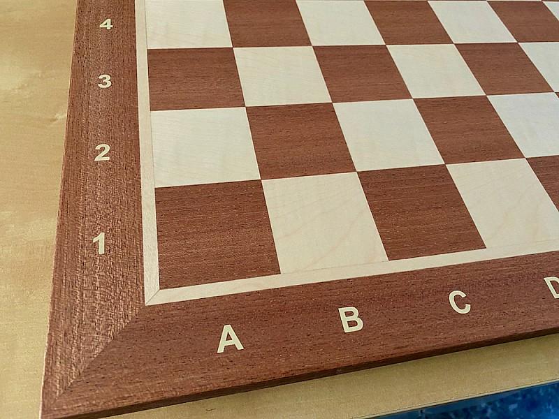 """Σκακιέρα ξύλινη """"Rome"""" μάτ pale  μαόνι πλακέτα ,  50 Χ 50 εκ. (με συντεταγμένες)"""