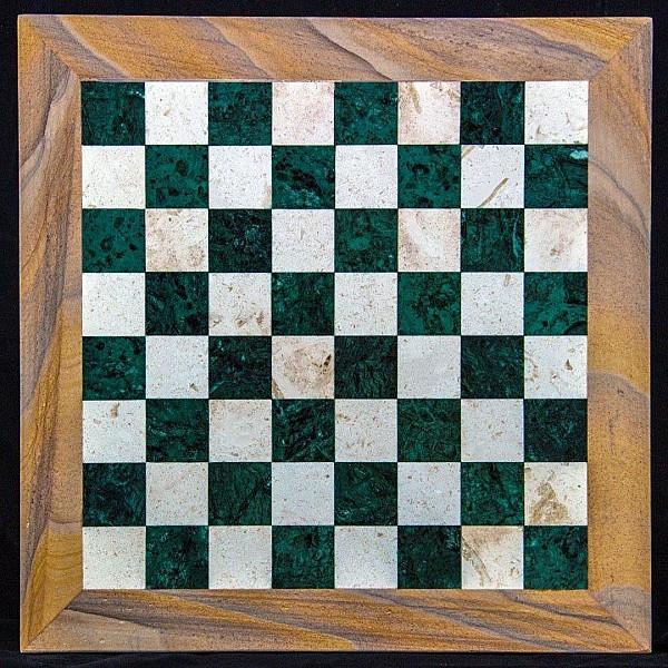 Rainbow Verde Razastan & Perla μαρμάρινη σκακιέρα  Διάσταση 60 X 60 εκ.