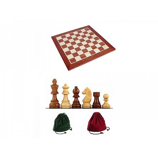 Σκακιέρα ξύλινη 50 Χ 50 εκ. χωρίς συντεταγμένες  & Ξύλινα πιόνια German staunton με ύψος βασιλιά 9.5 εκ. & πουγκί φύλαξης