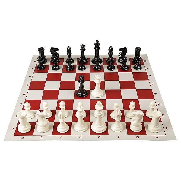 Σκακιέρα βινυλίου κόκκινη 50 Χ 50 μαζί με πλαστικά πιόνια (με βάρος) με ύψος βασιλιά 9.5 εκ.