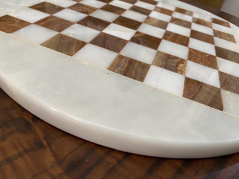 Σκακιέρα από όνυχα στρογγυλή (καφέ) με διάμετρο 35 εκ