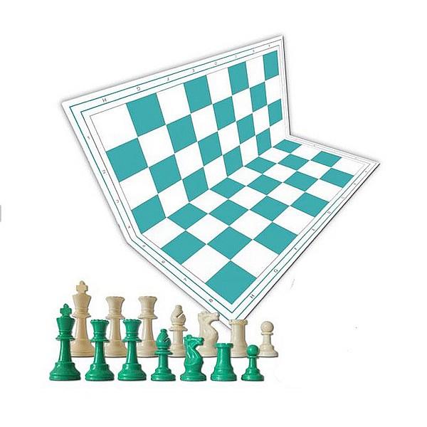 Χρωματιστό πλαστικό σέτ για σκάκι (πράσινη)