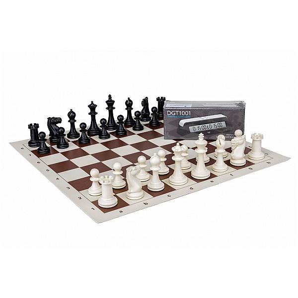 Σκακι βινιλίου με πλαστικά πίονια σετ και χρονόμετρο