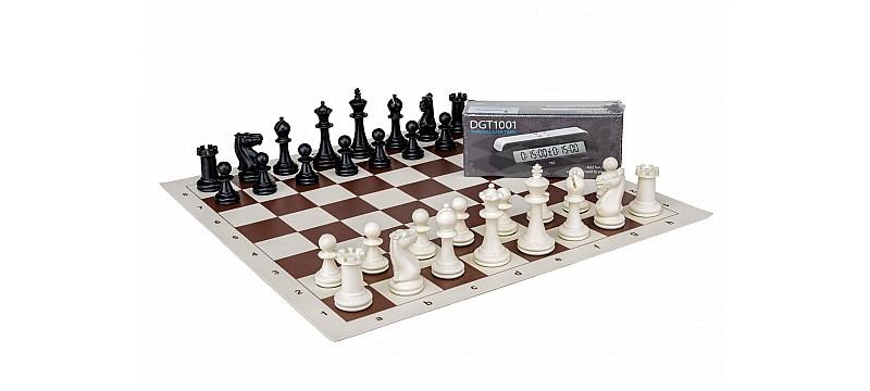Σκάκι βινιλίου με πλαστικά πιόνια σετ και χρονόμετρο
