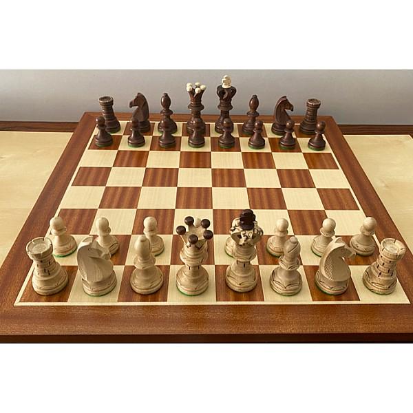 Σκακιέρα πλακέτα μαόνι 55 Χ 55 & Ambassador deluxe πιόνια  (καφέ χρώμα)