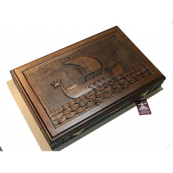 Τάβλι σκαλιστό με θέμα Αρχαίο καράβι