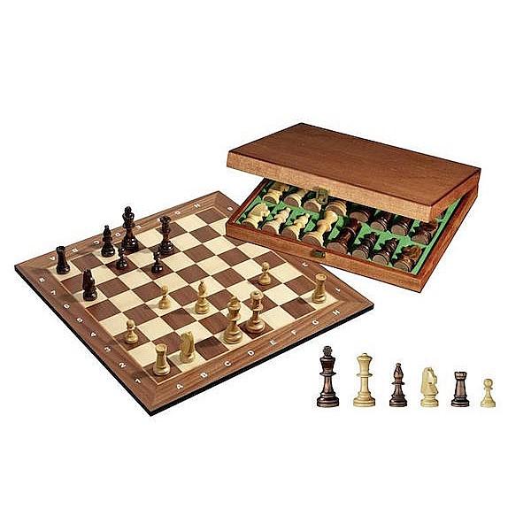 Σκακιέρα με ξύλινα πιόνια  με ύψος Βασιλιά 9 εκ. σε ξύλινη κασετίνα Κωδικός 2503