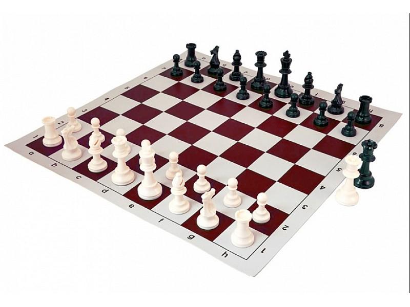 Σκακιέρα καφέ σιλικόνης 50 Χ 50 εκ. & πιόνια σιλικόνης