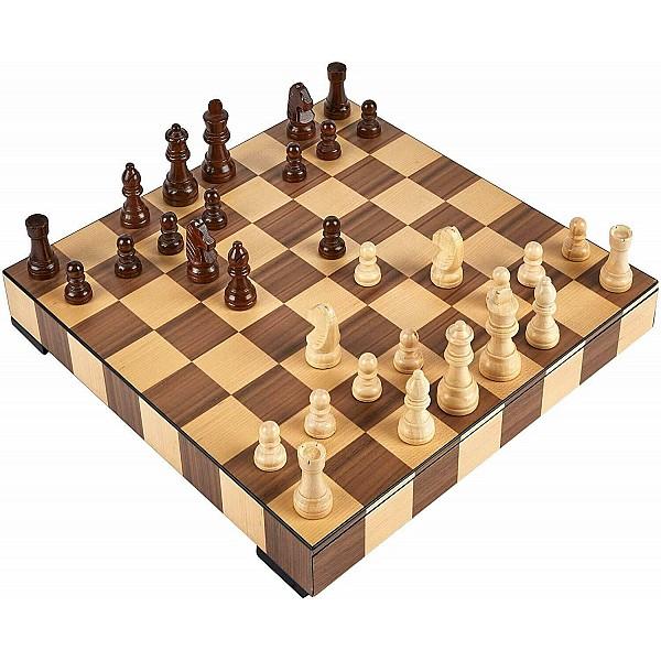 Deluxe ολοκληρωμένο σετ σκάκι  κουτί και πιόνια 36 Χ 36 εκ, με διάσταση τετραγώνου 4.5 εκ καρέ